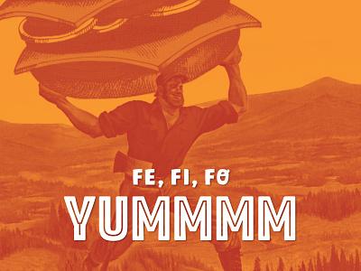 Yummmmberjack eat fall flannel halftone duotone orange yum food restaurant burger lumberjack poster actual size