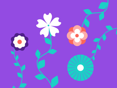 Blooms grow doodle illustration flowers