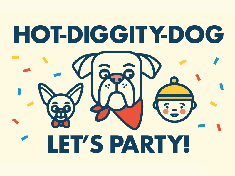 Hot Diggity Dog confetti party baby dog geometric illustration typography