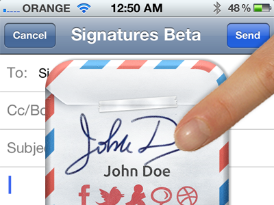 Signatures Beta ios iphone ipad signature mail email icon