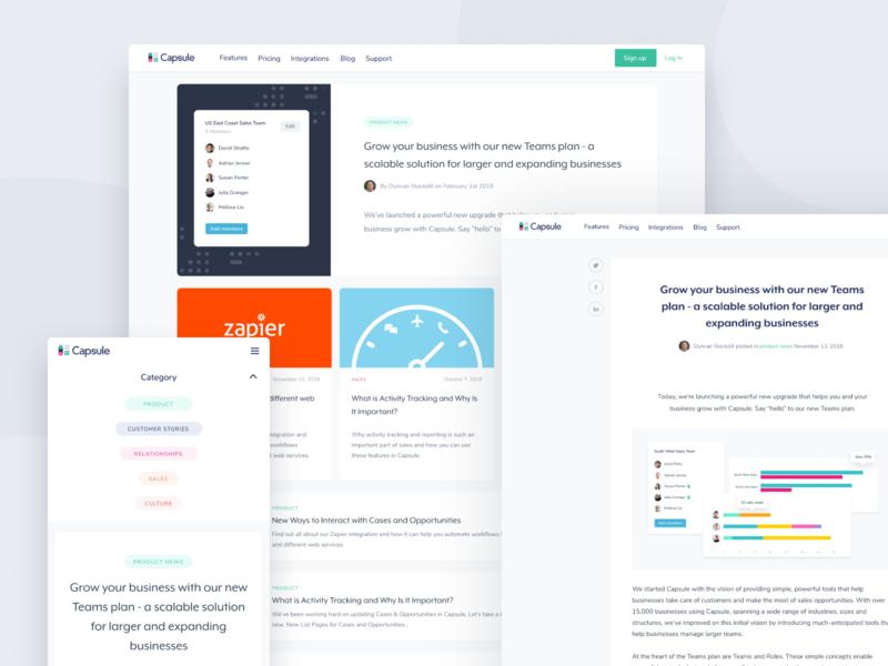 Capsule blog design update modern design clean blog web design