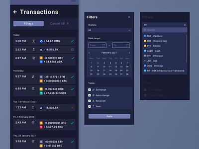 Cryptocurrencies wallet - mobile version date range bitcoin transfer money filters history transactions task process recruitment criptomoneda transaction wallet krypowaluty cryptocurrency
