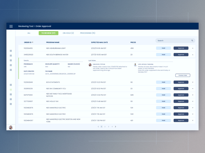 Approval system order approval expand bar system table expand bar notes search input bar details approval orders review reviewing tool on hold processing pages mail mailing system order review
