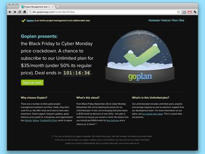 Goplan Black Friday promo page II goplan canvas html5 wip