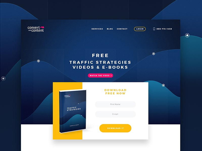 Convert with Content, website concept, test work. concept test ebooks marketing landing page landing seo portfolio design webdesign web website
