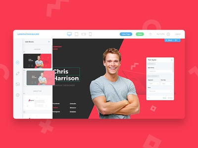 Landing Page Builder, Landing Page inspiration design web profile resume cv ux ui website builder landing page