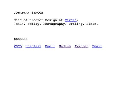 A Personal Website Reboot (jdsimcoe.com) design web html unstyled brutalist brutalism website