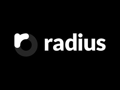 Radius Branding monochromatic white black logomark wordmark branding design brand