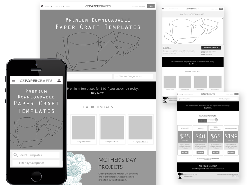 CZPapercrafts: First Set of Wireframes phone tablet desktop mobile website web responsive flat templates wireframes ux ui