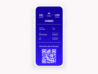 Daily UI Challenge #024 - Boarding Pass pass flight design illustration daily ui 024 mobile app challenge dailyui daily