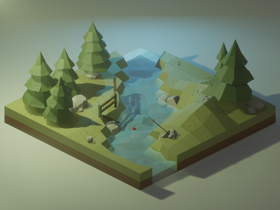 Afternoon at a River - Low Poly Forest 3dsmax blender3d 3d art waterfall low poly water low poly tree isometric nature forest low poly forest lowpoly low poly diorama blender 3d