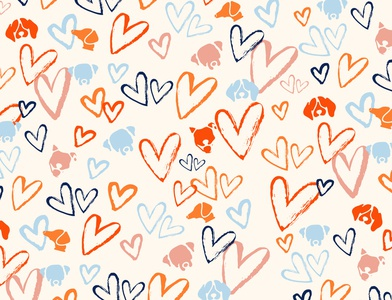 Grounds & Hounds Pattern design foster love hearts pattern packaging coffee pup dog illustration drawing branding design