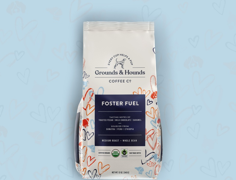 Grounds & Hounds Packaging puppy dog hearts illustration mockup bag coffee dogs package design package branding design