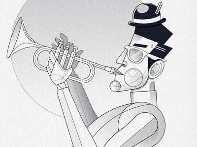 Illustrating With Shapes: The Trumpet Player line art flat illustration illustration vector