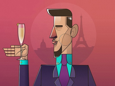 Cocktail Culture: French 75 character design illustration vector illustration