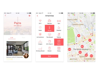 Airbnb Redesign: Content Discovery Screens photography mobile gradient collection icons map flat helvetica airbnb ios