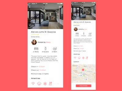 Airbnb Redesign: Content Details Screen gradient collection icons map flat helvetica airbnb ios