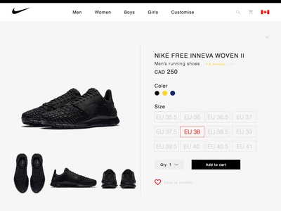 Nike Redesign: online store details screen