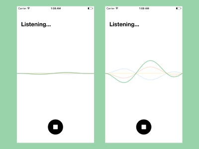 Sequence search music colors graph wave speech voice recognition flat ios