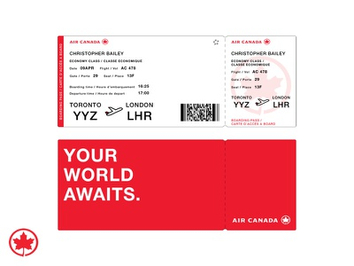 Air Canada Boarding Pass ticket paper plane branding travel flight pass boarding air canada