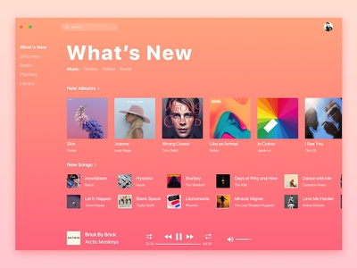 Apple Music Redesign / What's New audio song tidal spotify album artist mac os itunes player music apple