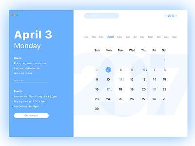 Calendar Mac OS App flat notes ui mac os app interface date events calendar