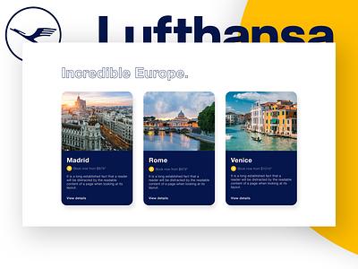 Lufthansa: Explore Concept travel web lufthansa layout flights europe desktop concept cards branding airlines