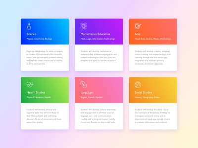 Private School: Curriculum Cards lesson design product landing page course classes layout web cards education studies school branding