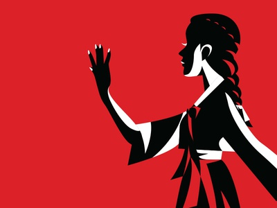 Nails silhouette reject red illustration girl hanbok korean nails