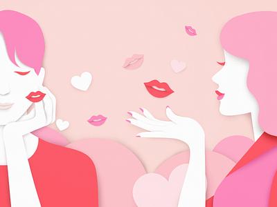 Shower of Kisses heart flat illustration pink valentines kiss