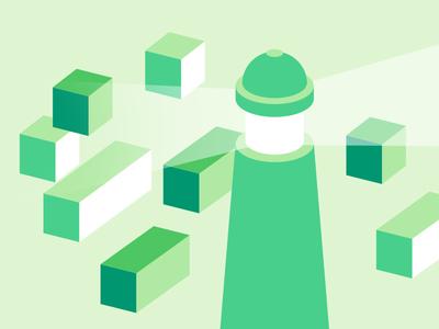 Green Lighthouse blocks cubes green lighthouse