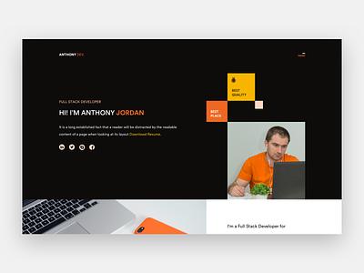 Developer Portfolio simple clean black orange typography portfolio landing page website ui desgin ui ui  ux design design
