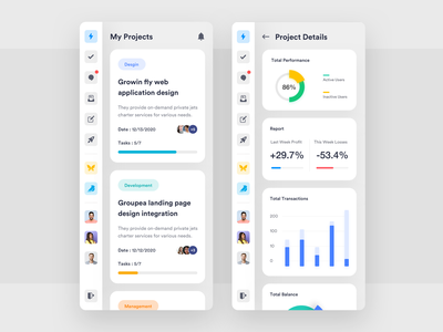 Project Management Mobile App analysis app ios application dashboard design charts ui app concept ui desgin ui  ux design design