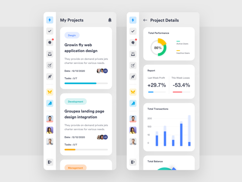 Project Management Mobile App analysis app ios application dashboard design charts ui app concept ui desgin ui  ux design design