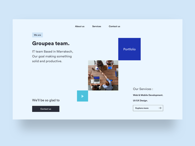 Landing Page blue website ux user interface user experience ui  ux ui typogaphy product design menu landing page design landing page hero banner hero header design header design clean branding banner