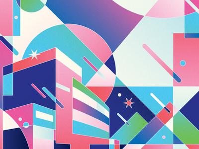 Paru Cinema colorful design pink geometry illustration