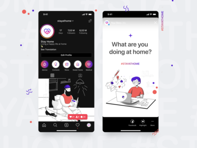 """Instagram Stories Template for Profile """"Stay at Home"""""""
