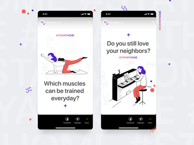 """Instagram Stories Template for Profile """"Stay at Home"""" template builder instagram stories instagram template marketing profile illustration ios instagram figma concept design figmadesign creative market concept"""