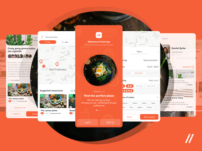Food App UI/UX mobile ios interface onboarding profile food product elements design ux app ui