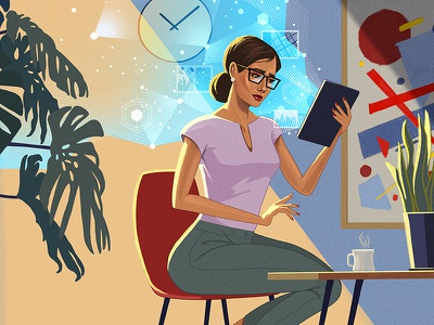 CEO and Data digital tablet woman portrait woman illustration online data woman ceo
