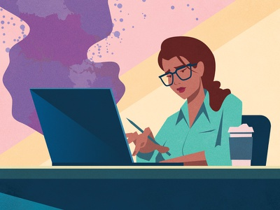 Cartographer at Work mapping vector woman people illustration