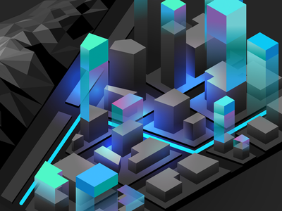 City Illustration extrude glow illustrator layer city
