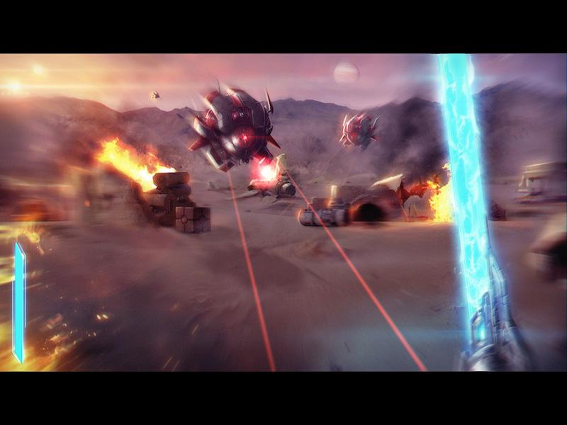 Space drone battle unity 3d game drone light saber space