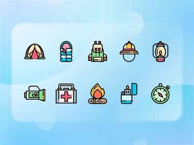 Camping Icons line icon ux ui lineal illustration design omission rounded icon outline colorful camping icons pack icons design icons icon set iconography