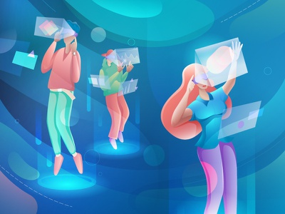 Virtual Reality digital computer colorful gradient ui  ux vr ar people glasses augmented game virtual reality technology reality virtual character vector design illustration