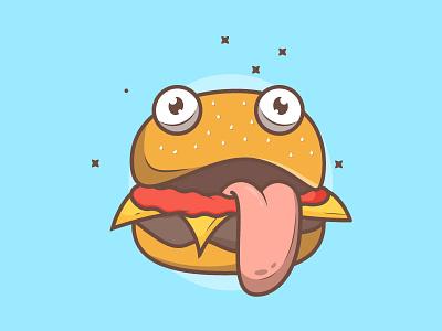 Burger Monster Drr character burger design error page download vector freebie illustration
