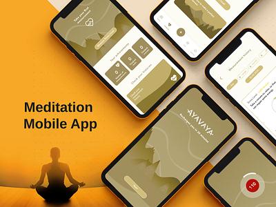 Meditation App Design illustration app ui user experience design yoga relax freedom meditation app
