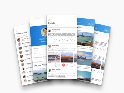 Daily UI #003 - Social Feed App user profile comment share like holiday vacation community friends list feeds social app