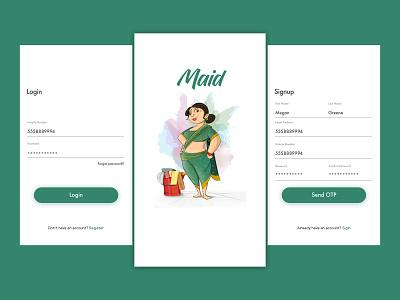 Daily UI #005 - Maid App Concept forgot password maid otp services splash register signup login