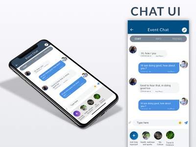 Daily UI #007 -Chat UI ux animation user experience design message app gathering friends event app chat app
